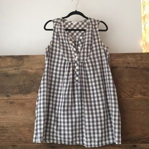 Button Up Grey & White Gingham Swing Dress